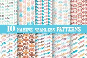 10 Marine Seamless Patterns