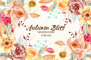 Watercolor Clipart Autumn Bliss