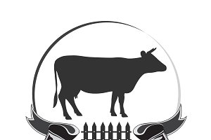 design element cow fresh milk, icon