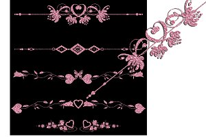 Pink shiny set of clipart borders.