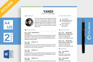 Simple Colored Resume / CV MS Word