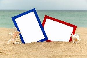 photo frame on the beach, photography on the beach, sea shells,