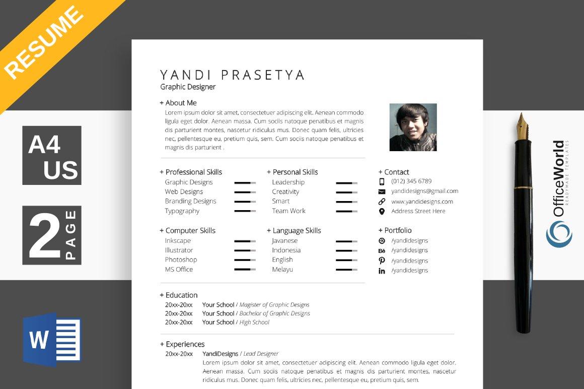 minimalist resume cv ms word resume templates creative market. Black Bedroom Furniture Sets. Home Design Ideas