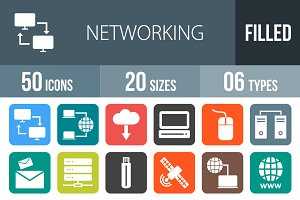 50 Networking Flat Round Corner Icon