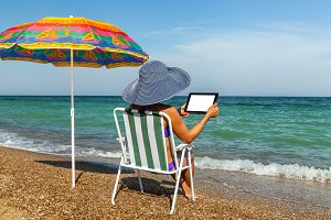 beach, umbrella, summer, woman, leisure, coast, laptop, phone, i
