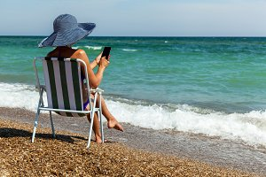 beach, summer, woman, leisure, coast, laptop, phone, island, cha