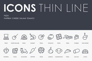 Pizza thinline icons