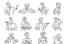 Set of 12 chef portrait sketch