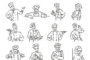 Set of 12 chef portrait sketch