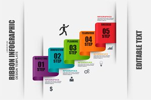 Business Ribbon Stair Infographic