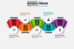 Infographic Business Ribbon Timeline