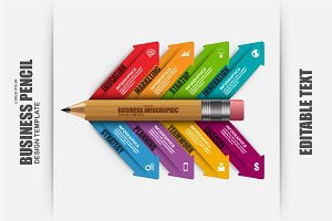 Business Pencil Infographic Elements