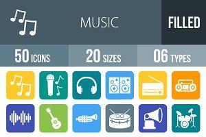 50 Music Flat Round Corner Icons