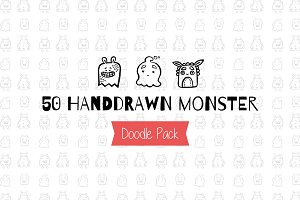 50 Handdrawn Monsters Doodle Pack