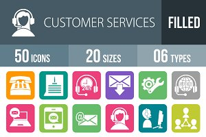 50 Customer Services Filled Icons
