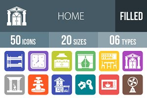 50 Home Flat Round Corner Icons