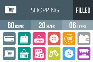 60 Shopping Flat Round Corner Icons