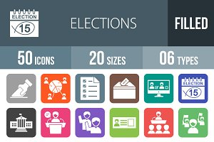 50 Elections Flat Round Corner Icons