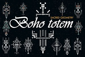 Boho totem. Sacred geometry