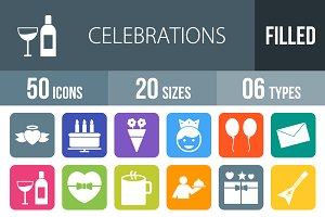 50 Celebrations Filled Icons