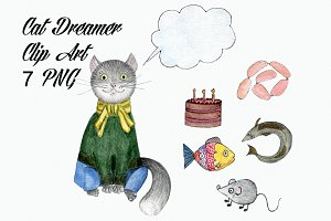 Watercolor Cat Dreamer Clip Art