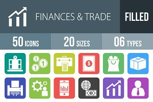 50 Finances Flat Round Corner Icons