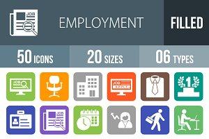 50 Employment Flat Round Corner Icon
