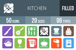 50 Kitchen Flat Round Corner Icons