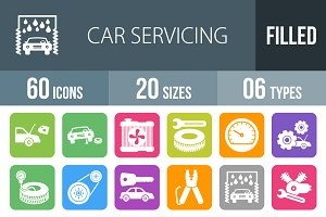 60 Car Servicing Filled Icons