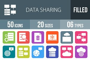 50 Data Sharing Filled Icons