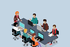 Teamwork 3d Isometric Business Team