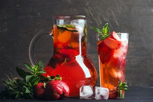Homemade mint strawberry lemonade
