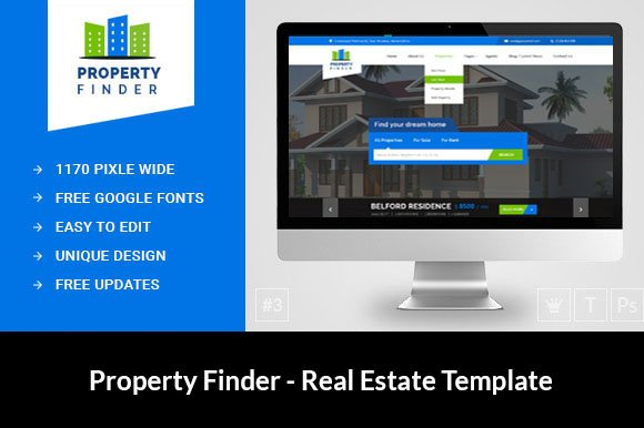 Real estate website template htmlcss themes creative market real estate website template htmlcss pronofoot35fo Image collections