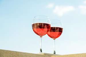 Two glasseses of rose wine
