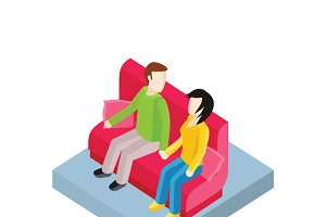 Couple on Bench Isometric Design