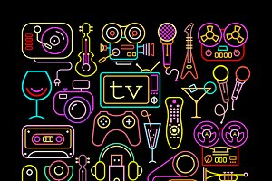 Neon Colors Entertainment Icons