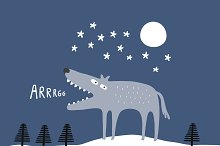 Wolf in a winter landscape