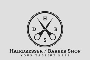 Hairdresser / Barber Shop Logo PSD