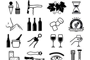 Tasting wine icons