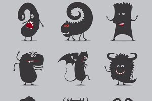 Cute black monsters icons