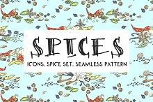 Spices. Doodle set