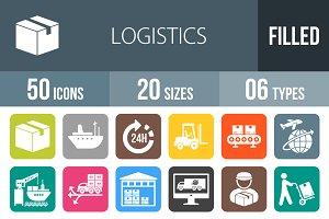 50 Logistics Flat Round Corner Icons