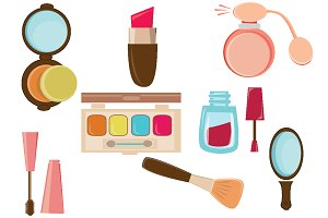 MAKEUP ICONS FLAT DESIGN