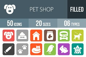 50 Pet Shop Flat Round Corner Icons