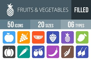 50 Fruits & Vegetables Filled Icons
