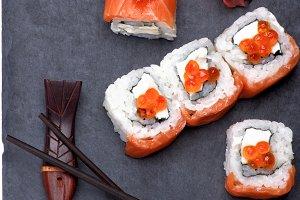 Salmon and Caviar Sushi