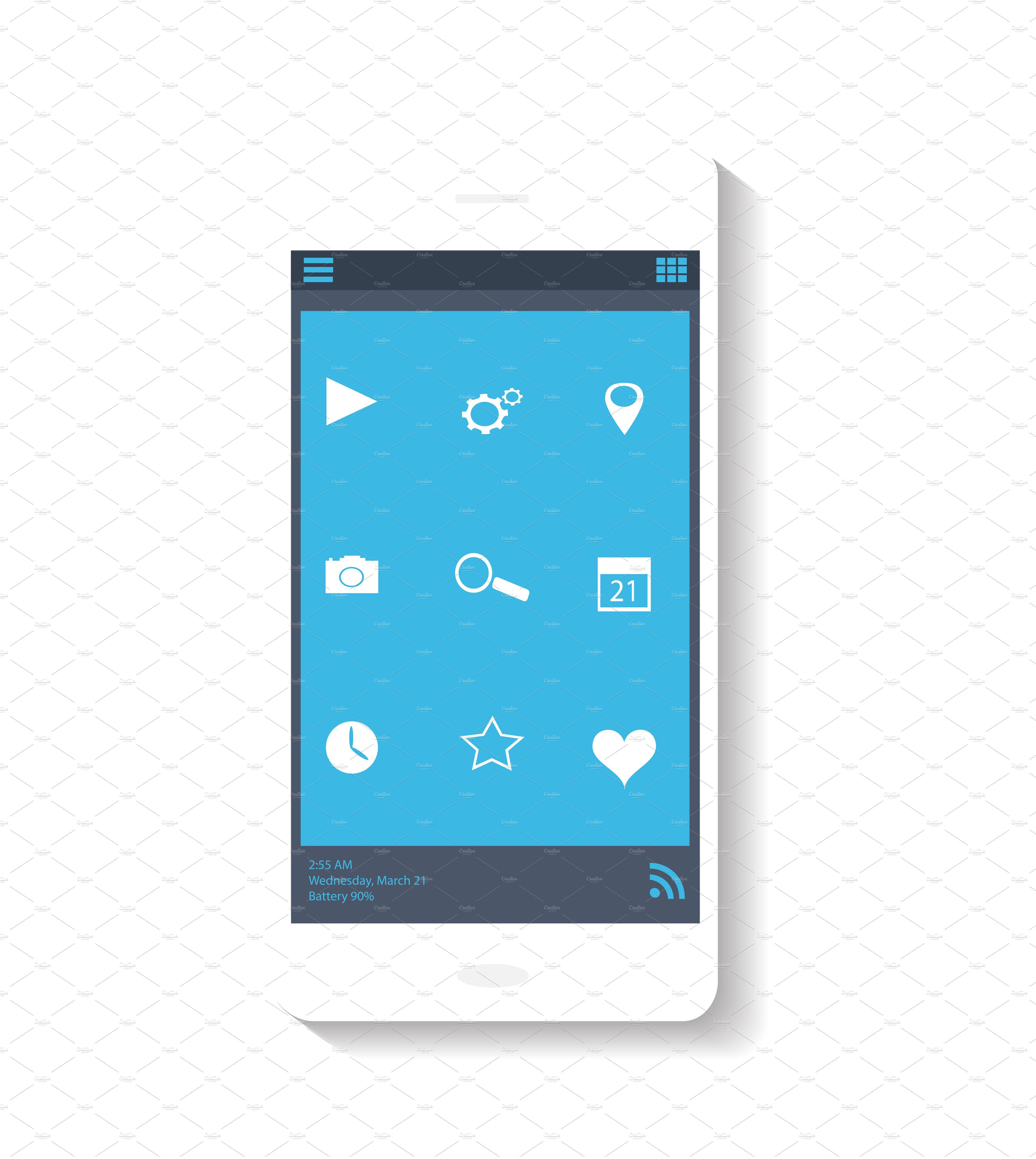 Smartphone Icon Blue Theme Icons Creative Market