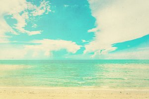 Tropical sea and beach in retro