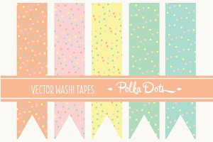 15 Vector Washi Tapes Polka Dots