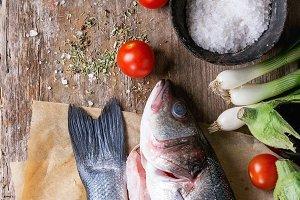 Raw seabass fish